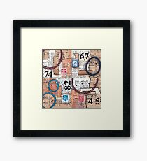 Mixed media collage combi vintage papers Framed Print