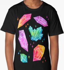 Watercolor Crystals // Black Long T-Shirt