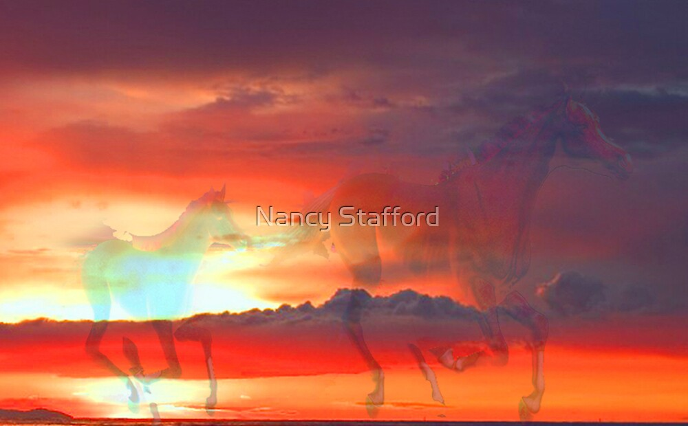 Sky Runners. Mare and Foal by Nancy Stafford