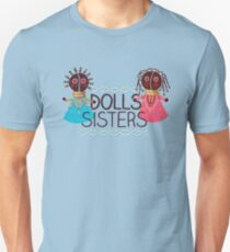 Soul Sisters Pastels girly dolls pattern on blue T-Shirt