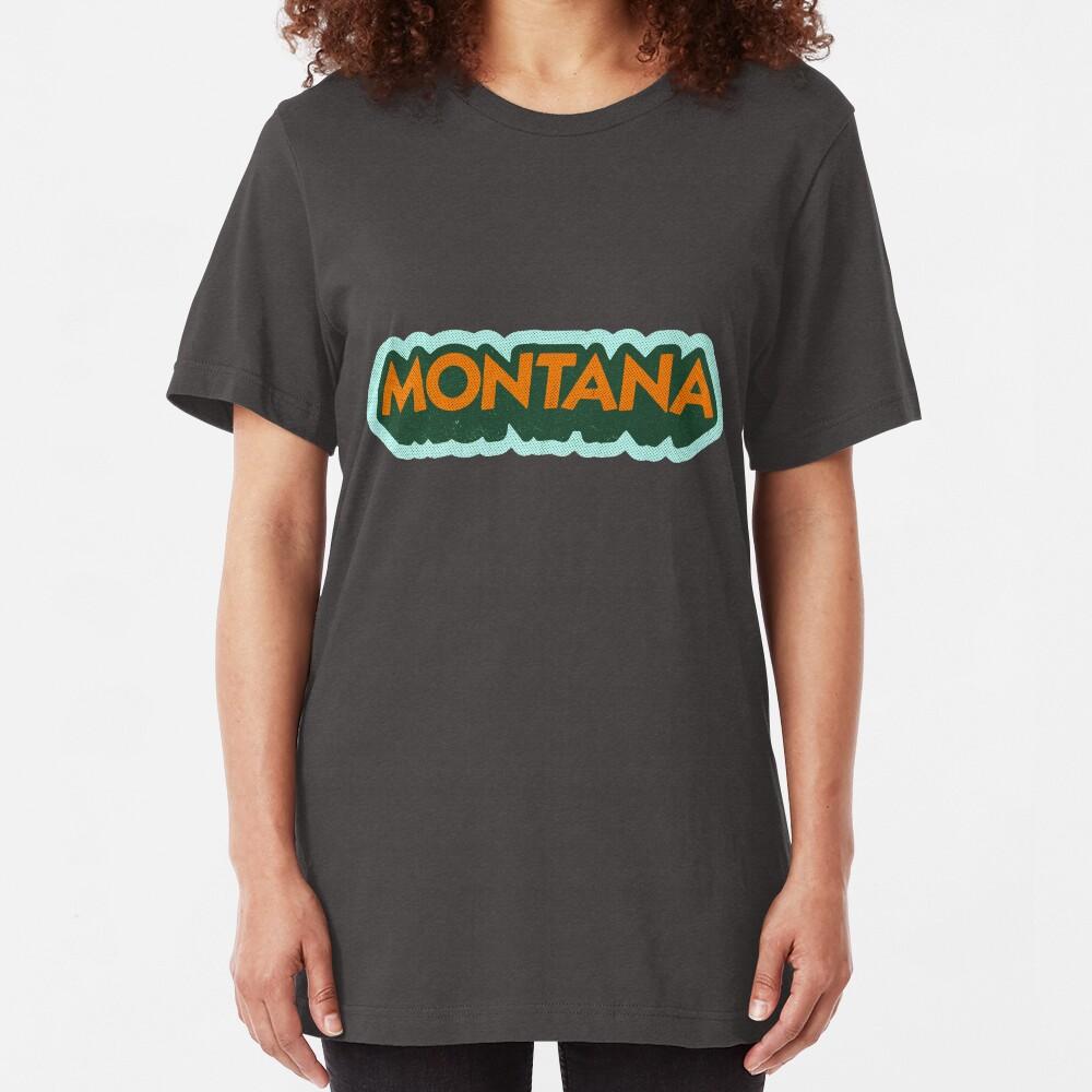 Montana State Sticker | Retro Pop Slim Fit T-Shirt
