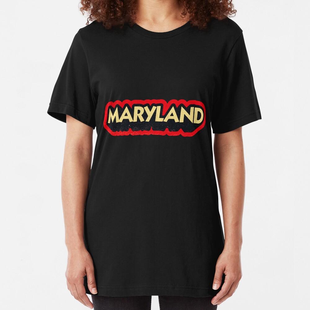 Maryland State Sticker | Retro Pop Slim Fit T-Shirt
