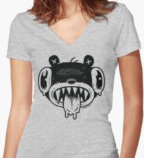 Noodle Bear Face Women's Fitted V-Neck T-Shirt