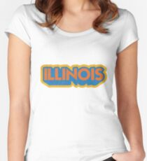 Illinois State Sticker | Retro Pop Women's Fitted Scoop T-Shirt