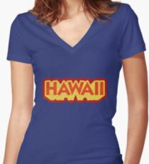 Hawaii State Sticker | Retro Pop Women's Fitted V-Neck T-Shirt