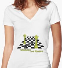 winners and losers chess  Women's Fitted V-Neck T-Shirt