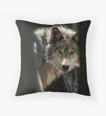 Wolf In Forest Throw Pillow