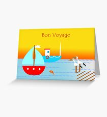 Bon Voyage, Nautical Scene, Boats and Pelicans Greeting Card