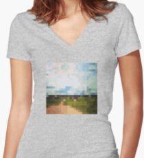 Digital Landscape #6 Women's Fitted V-Neck T-Shirt