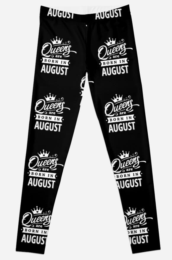 Legging «Queens nace en agosto - ¡Blanco sobre negro, diseño de ...