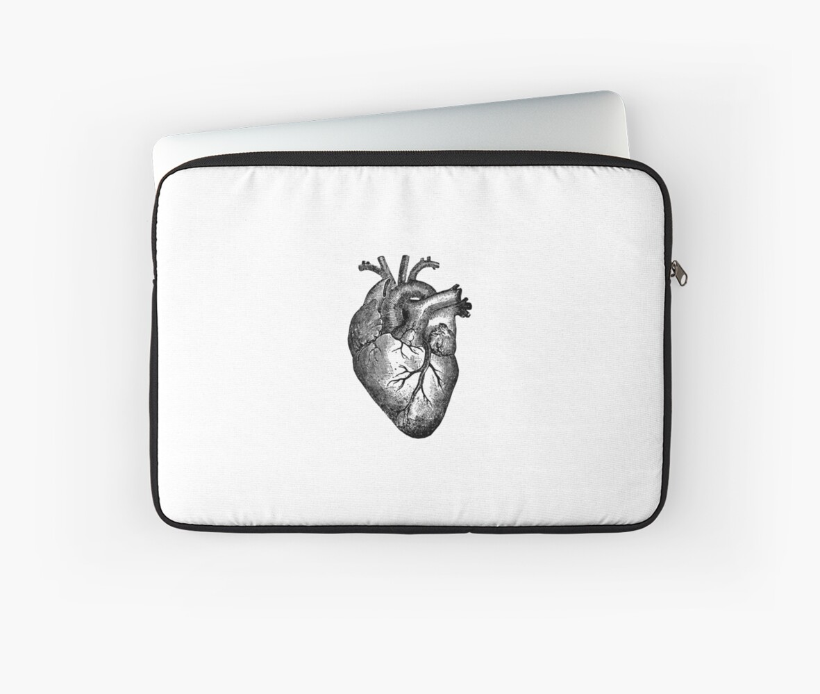 Vintage Heart Anatomy Laptop Sleeves By Stilleskygger Redbubble
