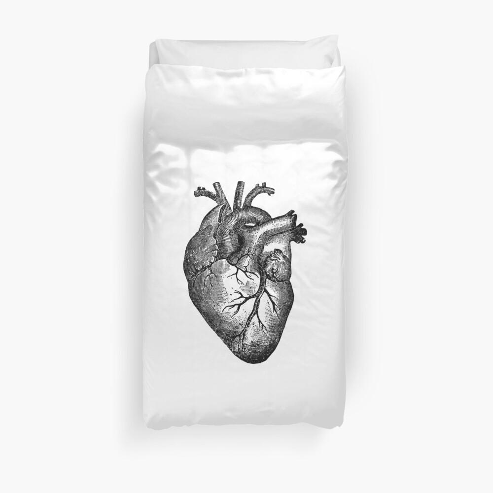 Vintage Herz Anatomie Bettbezug