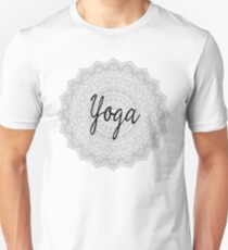 Yoga Addicts Spiritual Typography Inspirational Text On Mandala Pattern Print T-Shirt
