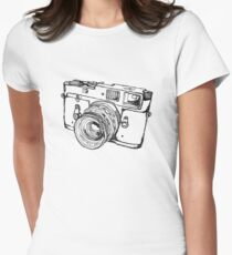 Rangefinder Style Camera Drawing Womens Fitted T-Shirt