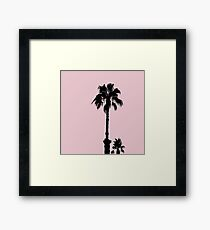 Palm Tree Silhouettes On Pink Framed Print
