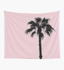 Palm Tree Silhouettes On Pink Wall Tapestry
