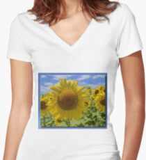 Smiling Faces Women's Fitted V-Neck T-Shirt