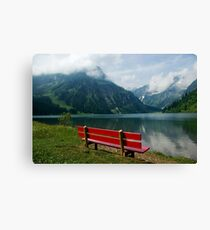 Red bench with a view Canvas Print