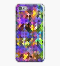 geometric square pixel pattern abstract in purple pink green yellow iPhone Case/Skin