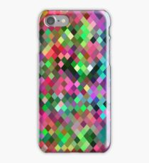 geometric square pixel pattern abstract in pink blue green iPhone Case/Skin