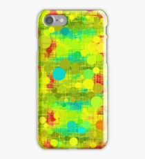 psychedelic geometric circle and square pattern abstract in yellow green blue red iPhone Case/Skin