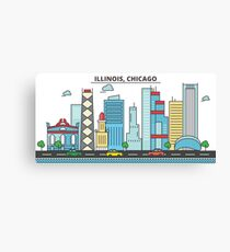 Illinois - Chicago. Silhouette Skyline Canvas Print