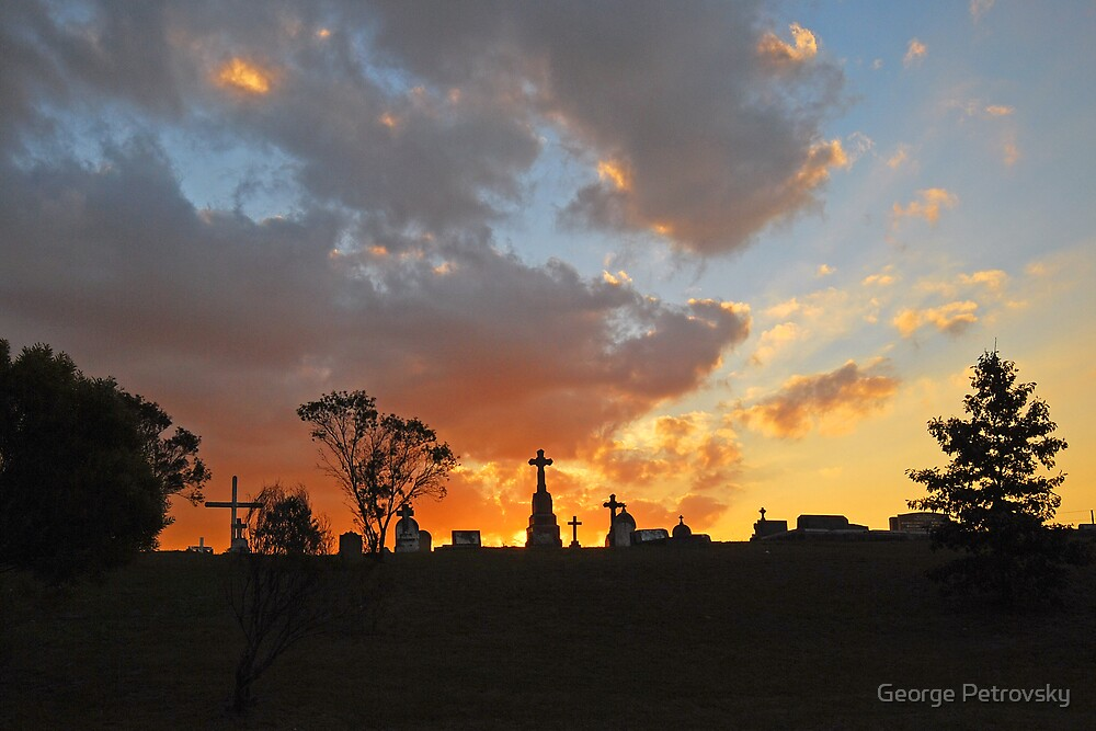 Sunset over Camden Cemetary by George Petrovsky