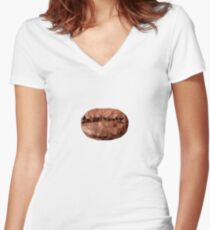 polygonal coffee bean Women's Fitted V-Neck T-Shirt
