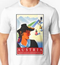 Austria, traditional woman, vintage travel poster T-Shirt