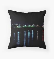 night lights on the ocean Throw Pillow