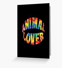 Animal Lover - tie dye (black) Greeting Card