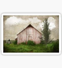 Sweet Weathered Red Barn Sticker