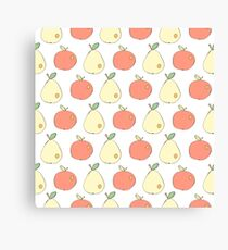 Apples and pears drawn in Japanese cartoon style  Canvas Print