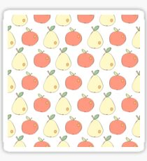 Apples and pears drawn in Japanese cartoon style  Sticker