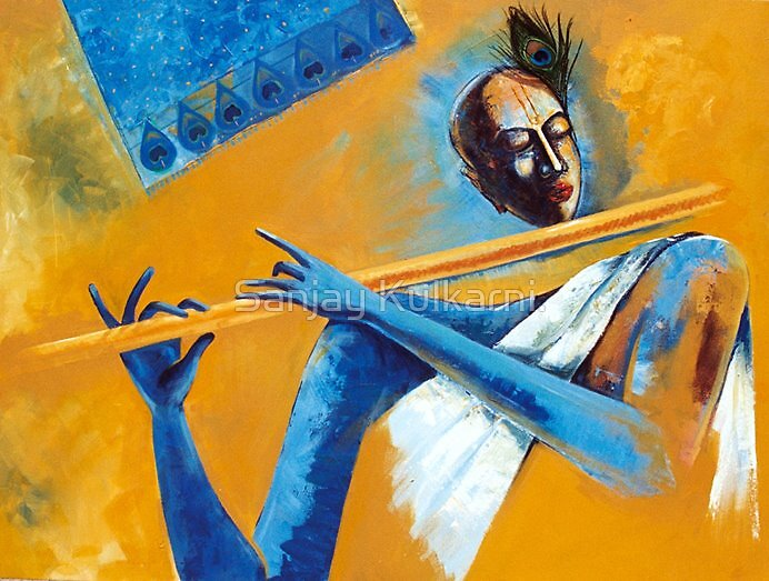 'The Devine Flute' Size 48 by 36 inches by Sanjay Kulkarni.