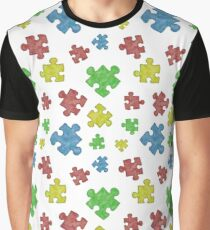 Puzzle Piece Pattern Graphic T-Shirt