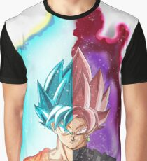 Goku Blue God & Black Goku Rose Graphic T-Shirt