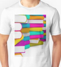 multiple colorful books stack Unisex T-Shirt