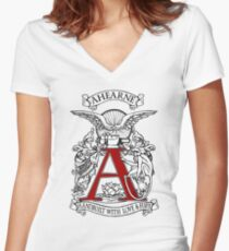 Ahearne Cycles Love and Fury WHITE Women's Fitted V-Neck T-Shirt