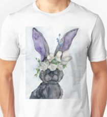 """Six Impossible Things"" - Watercolor Rabbit ( Black ) T-Shirt"