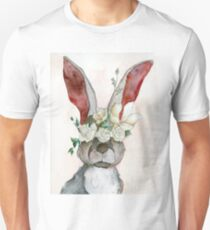 """Six Impossible Things"" II - Watercolor Rabbit T-Shirt"