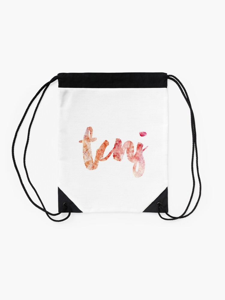 Alternate view of TCNJ sticker: tie-dye watercolor cursive lettering Drawstring Bag