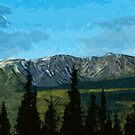 Denali Forest and Mountains Abstract Impressionism by pjwuebker