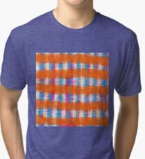 plaid pattern abstract texture in orange blue pink Tri-blend T-Shirt