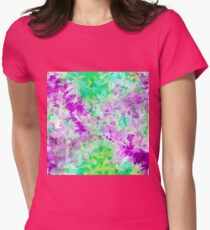 psychedelic geometric triangle abstract pattern in purple and green T-Shirt