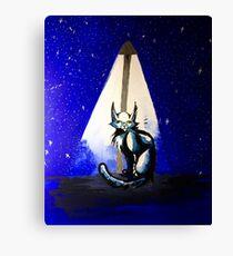 At Night - Mixed Media Painting Canvas Print