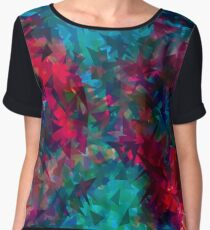 psychedelic geometric triangle abstract pattern in pink red blue Women's Chiffon Top