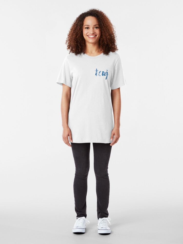 Alternate view of TCNJ sticker: cloudy cursive design Slim Fit T-Shirt