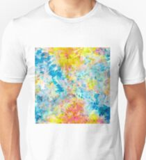 psychedelic geometric triangle abstract pattern in blue pink yellow T-Shirt