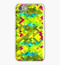 square pixel pattern abstract in yellow green blue red iPhone Case/Skin